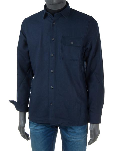 Navy Soft Wool Blend Shirt