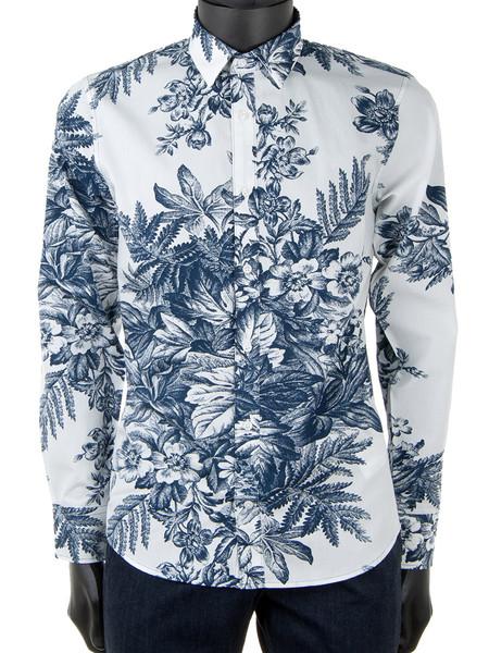 Big Blue Flower Patterned Shirt