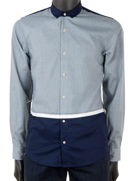 Grey & Navy Block Cotton Shirt