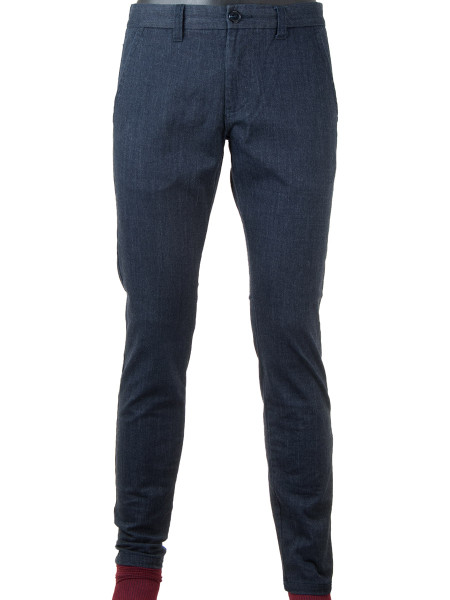 Blue Brushed Cotton Stretch Pants