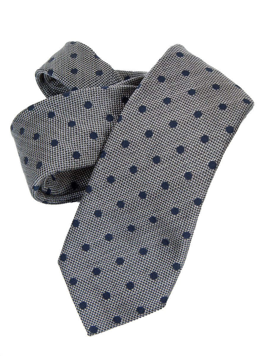 Grey Large Navy Spot Textured Silk & Cotton Tie