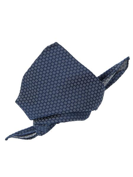 Blue Honeycomb Patterned Silk Pocket Square