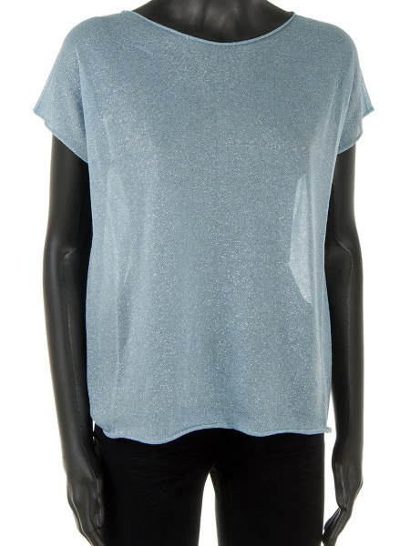 Light Blue Sheer Glitter Top