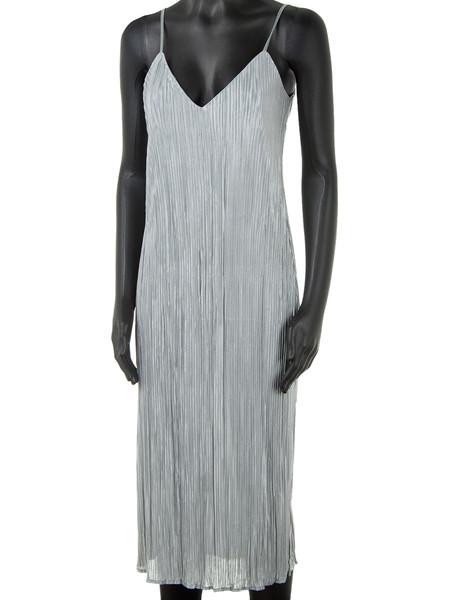Silver Grey Pleated Dress