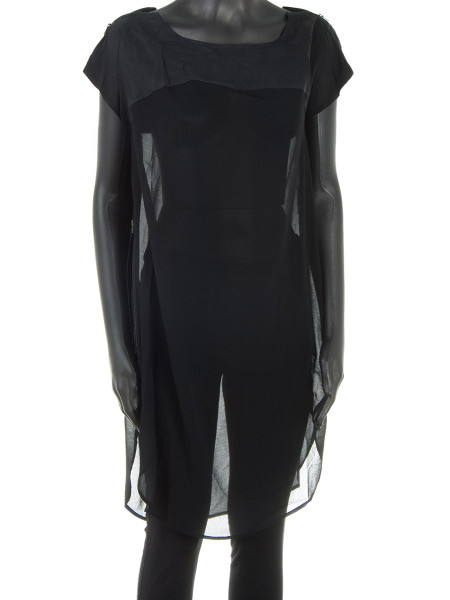 Black Sheer Two Textured Tunic