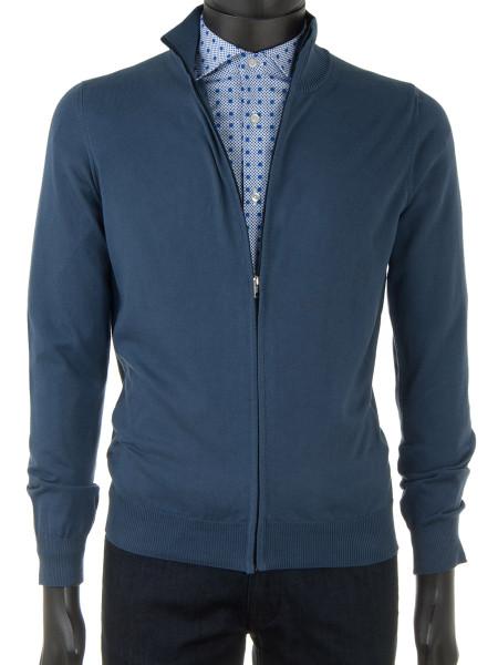 bac8d9e9e56642 Denim Blue High Neck Zip Through Cotton Cardigan