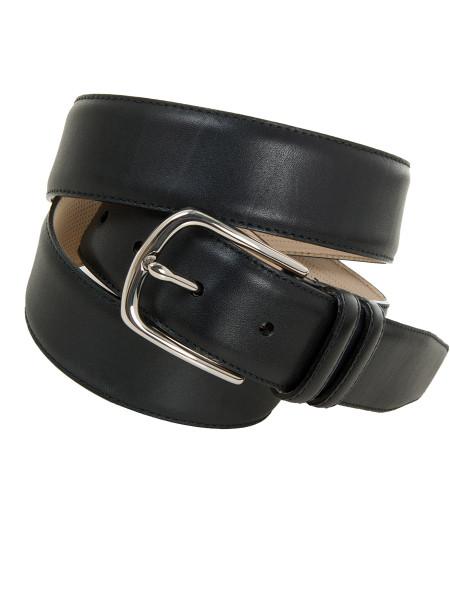 Classic Matt Black Leather Belt