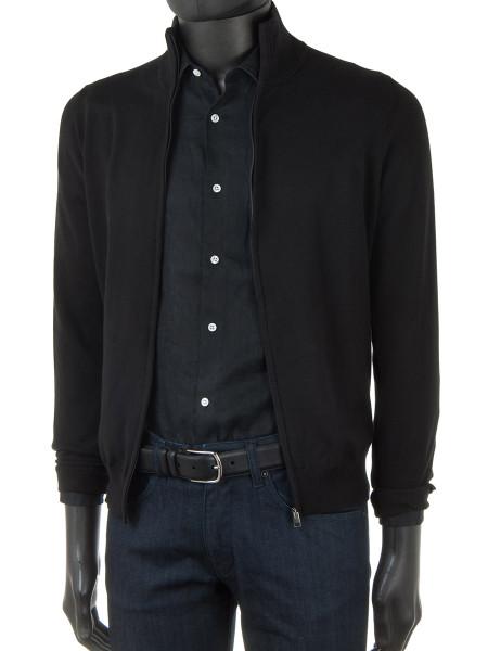 c40af910c117d6 Black High Neck Zip Through Cotton Cardigan