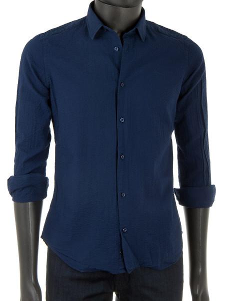 Dark Ocean Blue Seersucker Summer Shirt