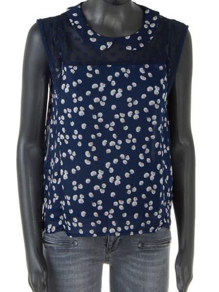 Sheer Navy Printed Top