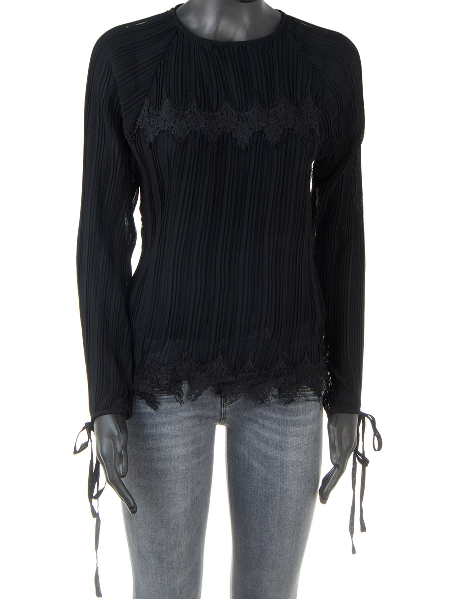 0c8bca92 Black Pleated Lace Detail Blouse - Oscar Milo