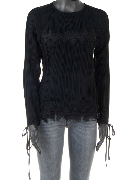 Black Pleated Lace Detail Blouse