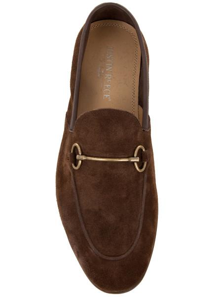 Brown Suede Horsebit Buckle Loafers