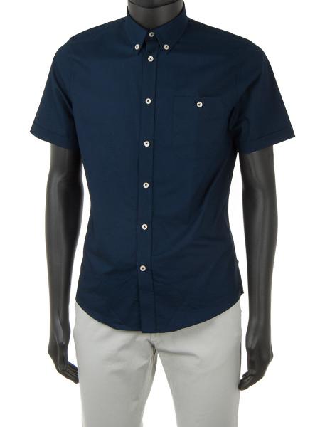Navy Clean-Cut Cotton Shirt