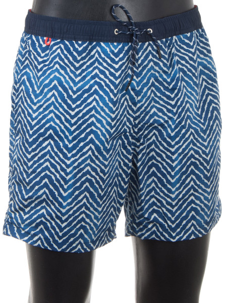 Blue Ripple Pattern Swim Shorts