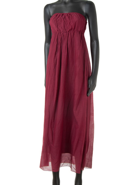 Dark Red Cotton & Silk Strapless Summer Dress