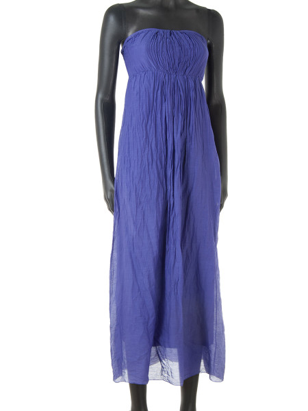 Violet Cotton & Silk Strapless Summer Dress