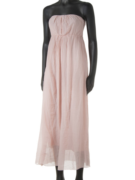 Light Pink Cotton & Silk Strapless Summer Dress