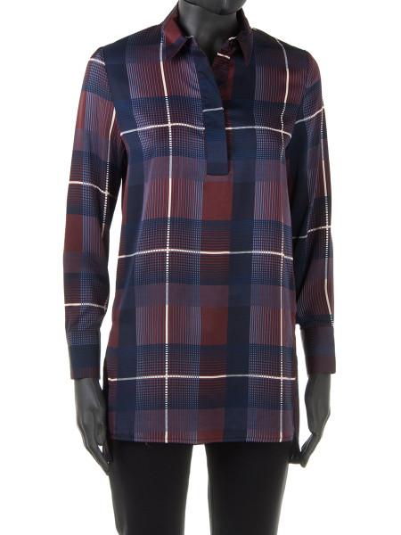 Bordeaux & Navy Tartan Maxi Shirt