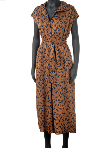 Patterned Cognac Jumpsuit