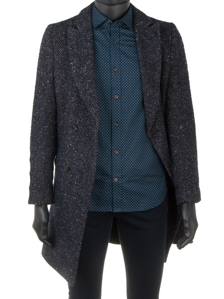 Dark Navy Harringbone Fleck Coat
