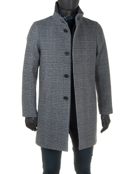 Prince of Wales Check Wool Cashmere Coat