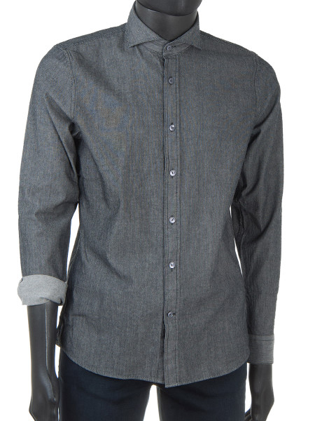 Grey Structured Denim Shirt