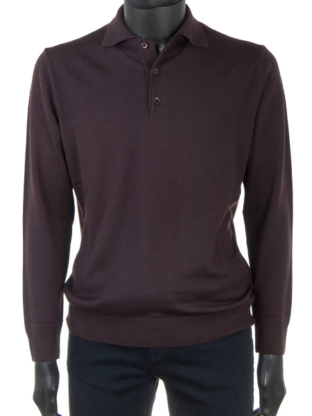 Dark Brown Pure Merino Polo Jumper