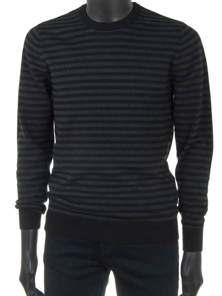 Cotton Knit Pullover Black & Grey Stripes