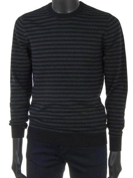 Cotton Knit Pullover Black & Grey Stripes