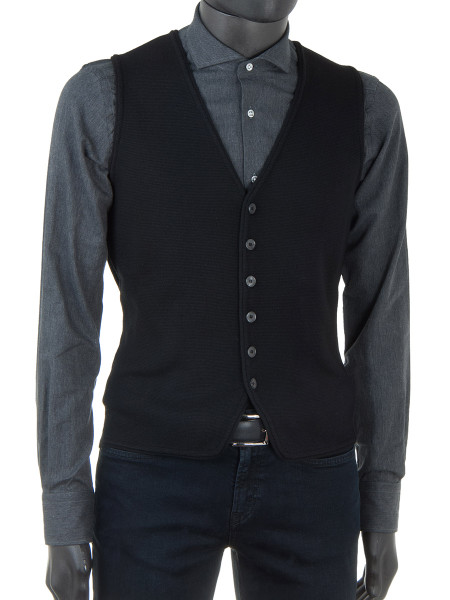 Black Merino Wool Waist Coat