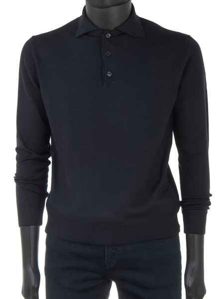 Black Pure Merino Polo Jumper