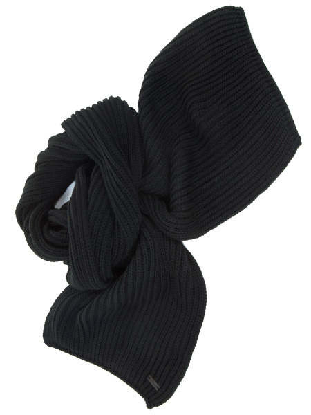 Black Chunky Ribbed Scarf