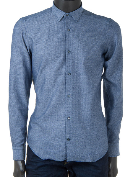 Denim Twill Pointed Collar Shirt