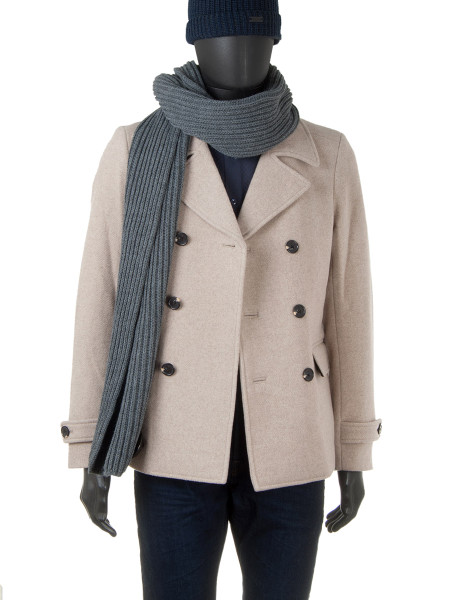 Beige Double-Breasted Wool Coat Jacket