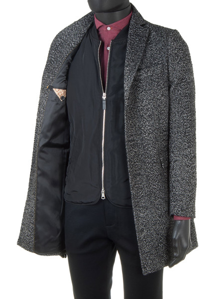 Single-Breasted Wool Blend Coat