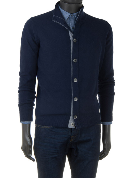 Navy Cashmere & Wool Blend Button Cardigan