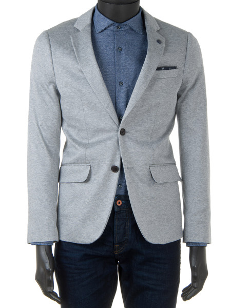 Lightgrey Cotton Jersey Blazer