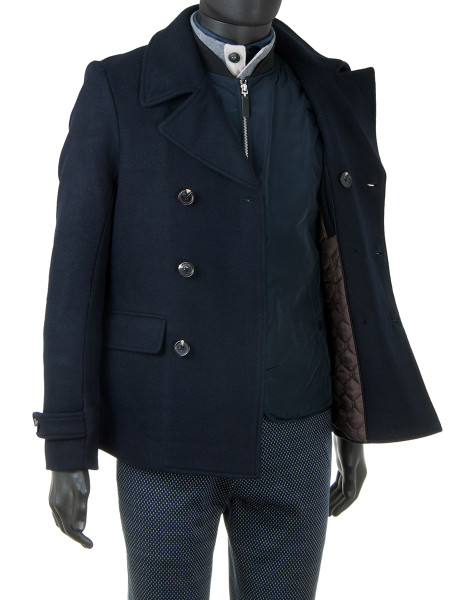 Night Blue Double-Breasted Wool Coat Jacket