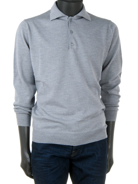 Light Grey Pure Merino Polo Jumper