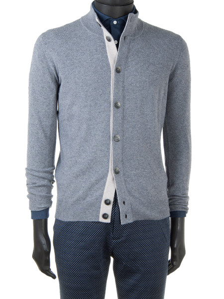 Midgrey Cashmere & Wool Blend Button Cardigan
