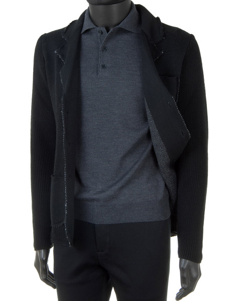 Charcoal Pure Merino Polo Jumper