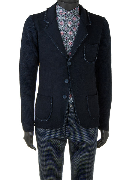 Navy Double Knit Raw Edge Blazer