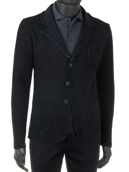 Black Double Knit Raw Edge Blazer