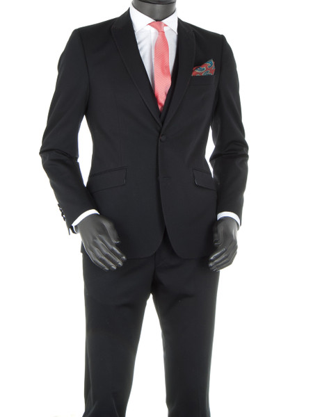 Black Cotton 2 Piece Suit