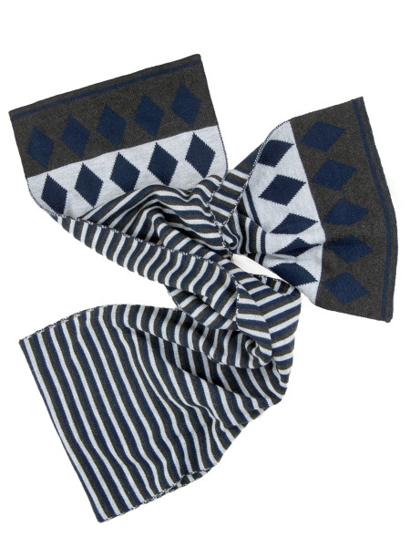 Striped Scarf Grey & Navy Tones