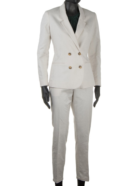 Tailored Herringbone Blazer Off White
