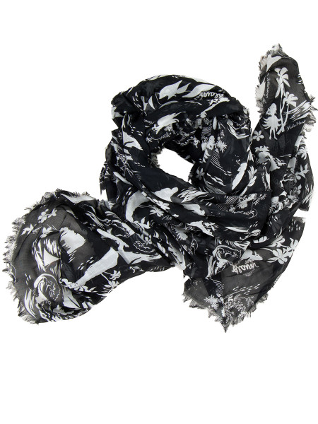 All-Over Print Modal Scarf Black & White