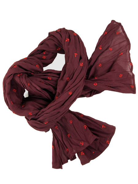 Bordeaux Anchor Print Cotton Scarf