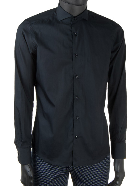 Black Oxford Cotton Cut-Away Collar Shirt